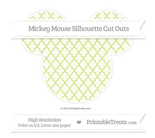 Free Pastel Lime Green Moroccan Tile Extra Large Mickey Mouse Silhouette Cut Outs