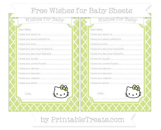 Free Pastel Lime Green Moroccan Tile Hello Kitty Wishes for Baby Sheets