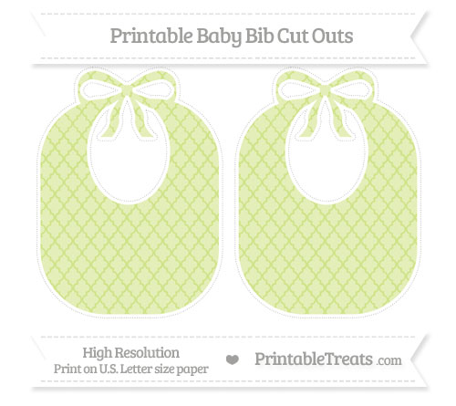 Free Pastel Lime Green Moroccan Tile Large Baby Bib Cut Outs