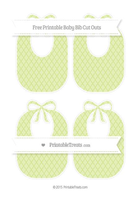 Free Pastel Lime Green Moroccan Tile Medium Baby Bib Cut Outs