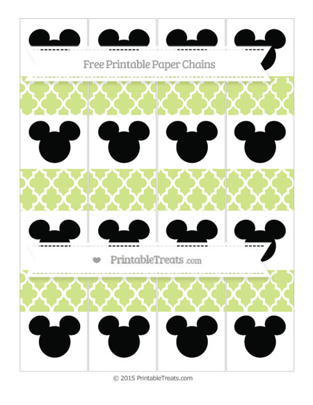 Free Pastel Lime Green Moroccan Tile Mickey Mouse Paper Chains
