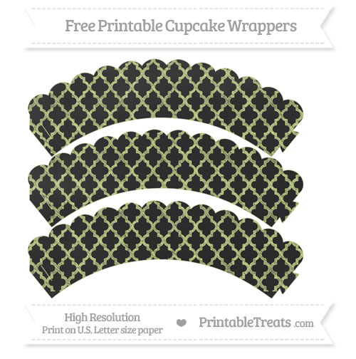 Free Pastel Lime Green Moroccan Tile Pattern Chalk Style Scalloped Cupcake Wrappers