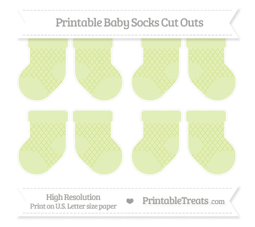 Free Pastel Lime Green Moroccan Tile Small Baby Socks Cut Outs