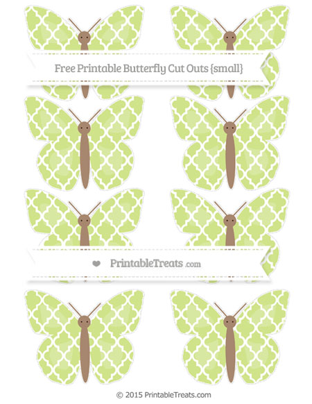 Free Pastel Lime Green Moroccan Tile Small Butterfly Cut Outs
