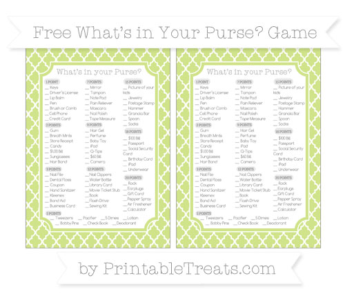 Free Pastel Lime Green Moroccan Tile What's in Your Purse Baby Shower Game
