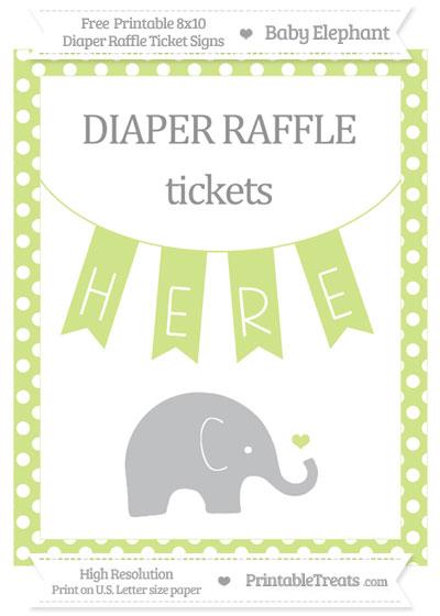 Free Pastel Lime Green Polka Dot Baby Elephant 8x10 Diaper Raffle Ticket Sign