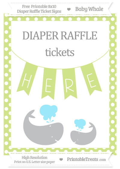 Free Pastel Lime Green Polka Dot Baby Whale 8x10 Diaper Raffle Ticket Sign