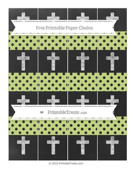 Free Pastel Lime Green Polka Dot Chalk Style Cross Paper Chains