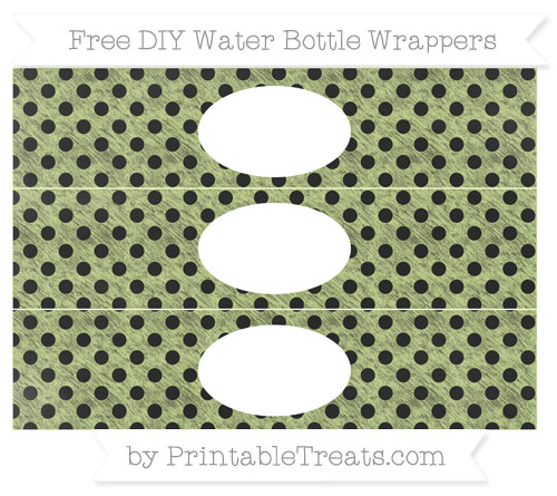 Free Pastel Lime Green Polka Dot Chalk Style DIY Water Bottle Wrappers