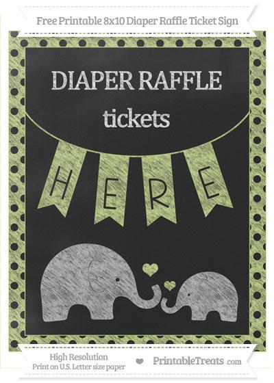Free Pastel Lime Green Polka Dot Chalk Style Elephant 8x10 Diaper Raffle Ticket Sign