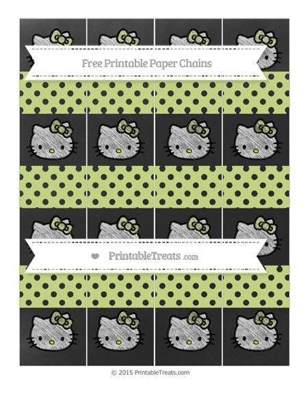 Free Pastel Lime Green Polka Dot Chalk Style Hello Kitty Paper Chains
