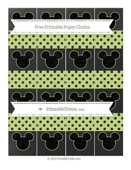 Free Pastel Lime Green Polka Dot Chalk Style Mickey Mouse Paper Chains