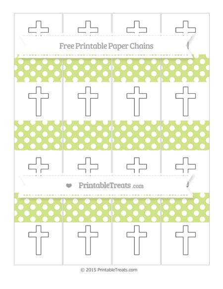 Free Pastel Lime Green Polka Dot Cross Paper Chains