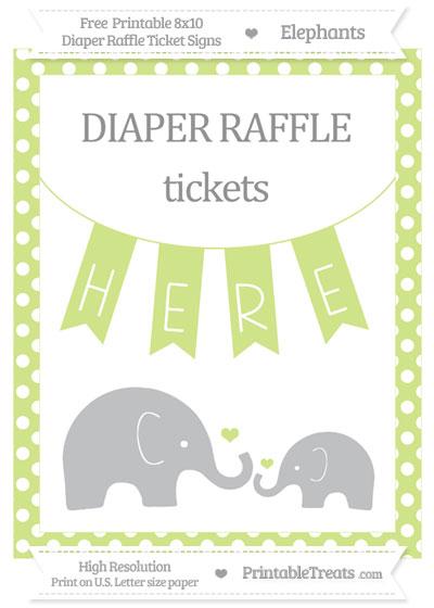 Free Pastel Lime Green Polka Dot Elephant 8x10 Diaper Raffle Ticket Sign