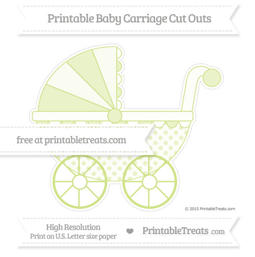 Free Pastel Lime Green Polka Dot Extra Large Baby Carriage Cut Outs