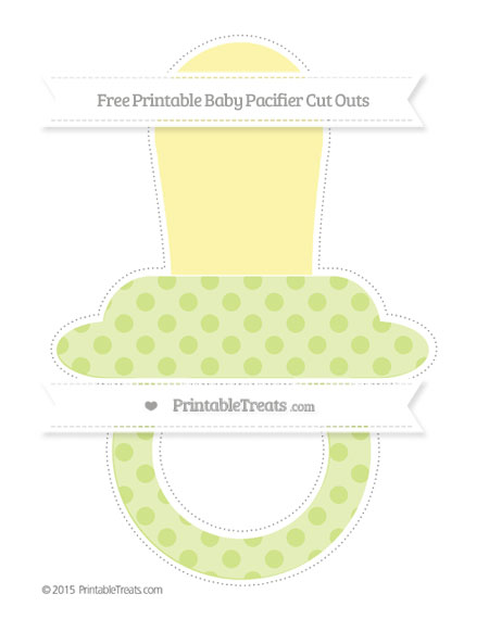 Free Pastel Lime Green Polka Dot Extra Large Baby Pacifier Cut Outs
