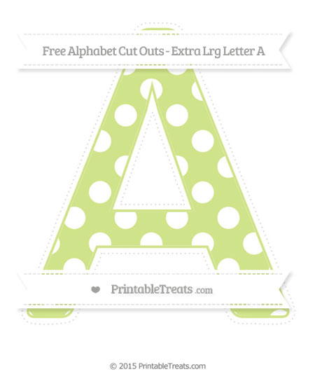 Free Pastel Lime Green Polka Dot Extra Large Capital Letter A Cut Outs