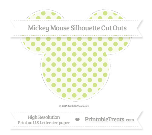Free Pastel Lime Green Polka Dot Extra Large Mickey Mouse Silhouette Cut Outs