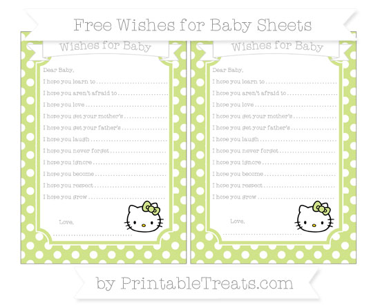 Free Pastel Lime Green Polka Dot Hello Kitty Wishes for Baby Sheets