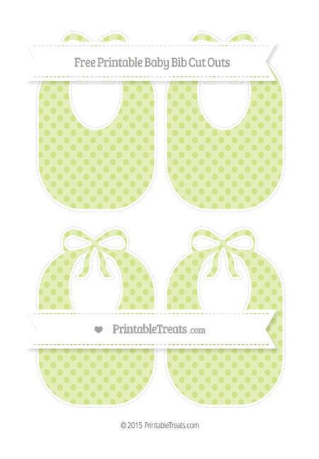 Free Pastel Lime Green Polka Dot Medium Baby Bib Cut Outs