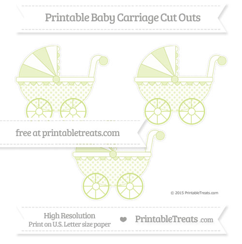 Free Pastel Lime Green Polka Dot Medium Baby Carriage Cut Outs