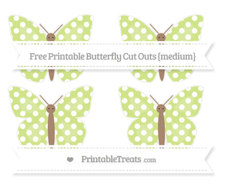 Free Pastel Lime Green Polka Dot Medium Butterfly Cut Outs