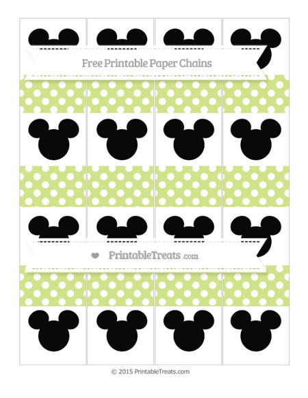 Free Pastel Lime Green Polka Dot Mickey Mouse Paper Chains