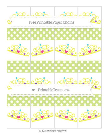 Free Pastel Lime Green Polka Dot Princess Tiara Paper Chains