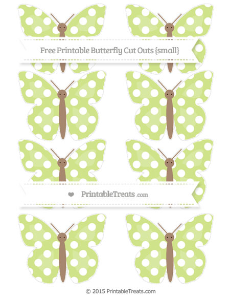 Free Pastel Lime Green Polka Dot Small Butterfly Cut Outs