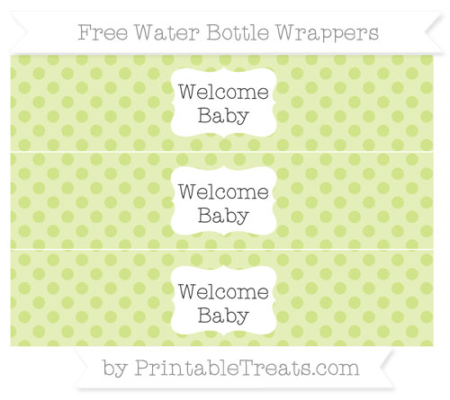 Free Pastel Lime Green Polka Dot Welcome Baby Water Bottle Wrappers