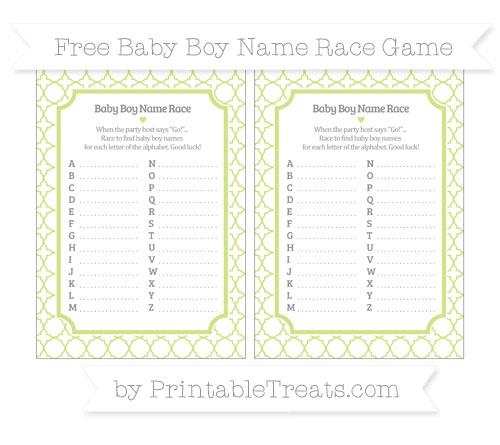 Free Pastel Lime Green Quatrefoil Pattern Baby Boy Name Race Game