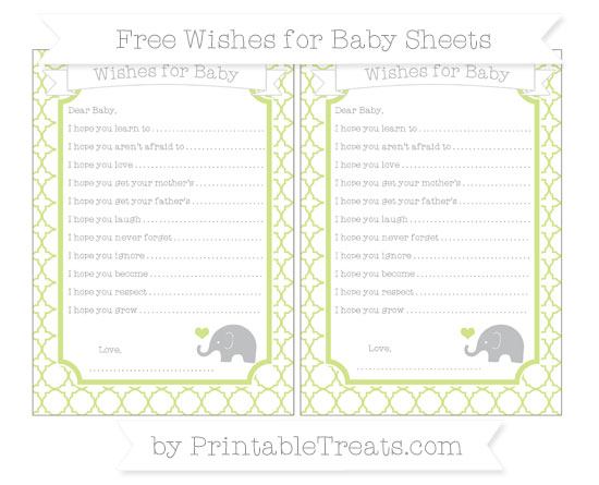 Free Pastel Lime Green Quatrefoil Pattern Baby Elephant Wishes for Baby Sheets