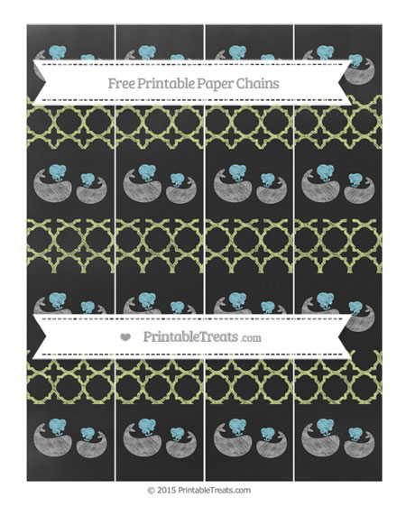 Free Pastel Lime Green Quatrefoil Pattern Chalk Style Baby Whale Paper Chains