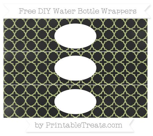 Free Pastel Lime Green Quatrefoil Pattern Chalk Style DIY Water Bottle Wrappers