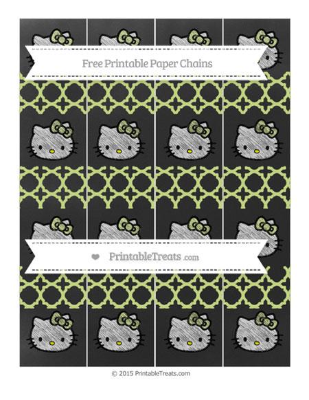 Free Pastel Lime Green Quatrefoil Pattern Chalk Style Hello Kitty Paper Chains