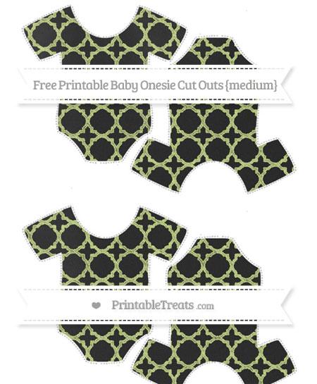 Free Pastel Lime Green Quatrefoil Pattern Chalk Style Medium Baby Onesie Cut Outs