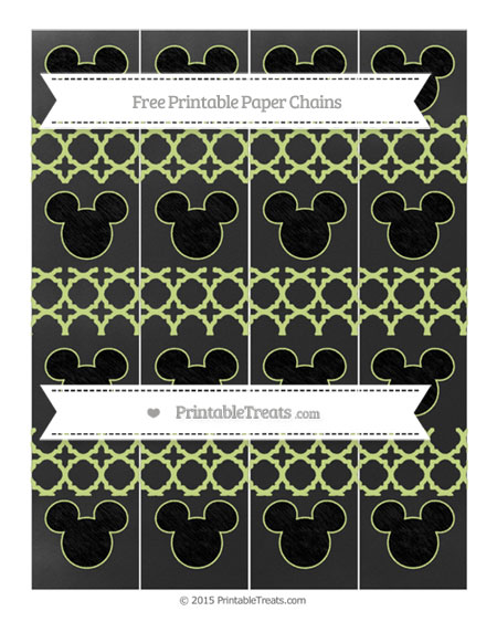 Free Pastel Lime Green Quatrefoil Pattern Chalk Style Mickey Mouse Paper Chains