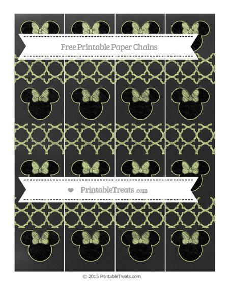 Free Pastel Lime Green Quatrefoil Pattern Chalk Style Minnie Mouse Paper Chains