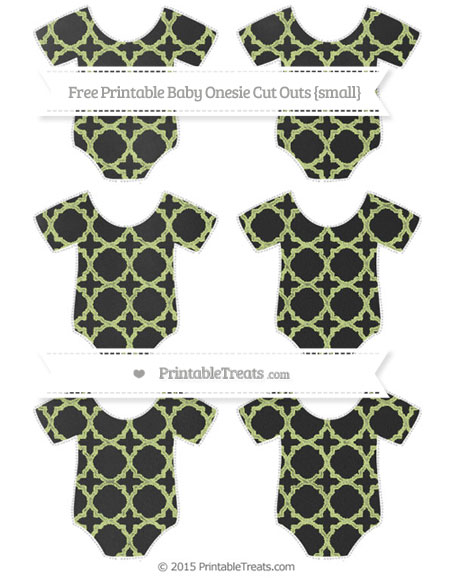 Free Pastel Lime Green Quatrefoil Pattern Chalk Style Small Baby Onesie Cut Outs