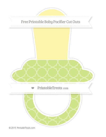Free Pastel Lime Green Quatrefoil Pattern Extra Large Baby Pacifier Cut Outs