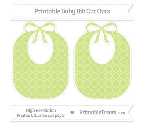 Free Pastel Lime Green Quatrefoil Pattern Large Baby Bib Cut Outs