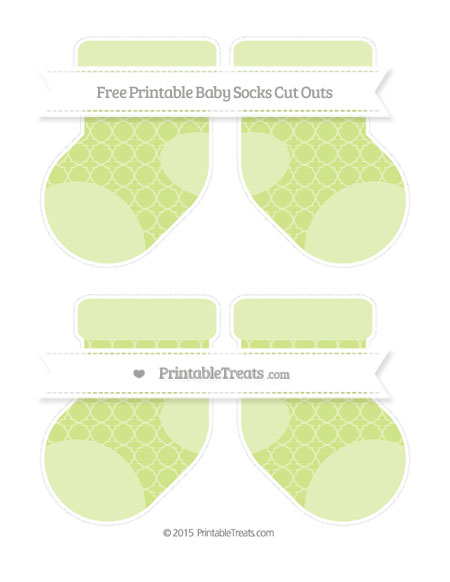 Free Pastel Lime Green Quatrefoil Pattern Medium Baby Socks Cut Outs