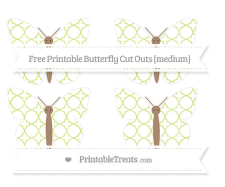 Free Pastel Lime Green Quatrefoil Pattern Medium Butterfly Cut Outs
