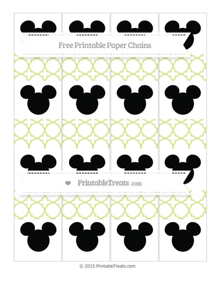 Free Pastel Lime Green Quatrefoil Pattern Mickey Mouse Paper Chains