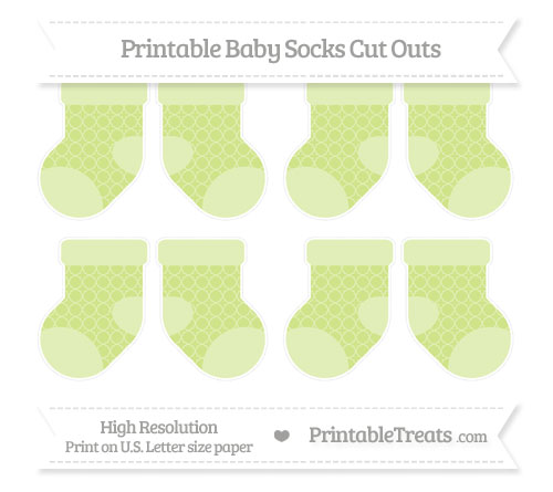 Free Pastel Lime Green Quatrefoil Pattern Small Baby Socks Cut Outs