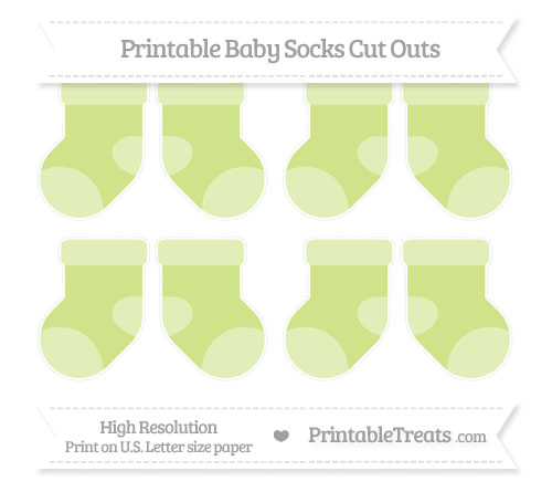 Free Pastel Lime Green Small Baby Socks Cut Outs