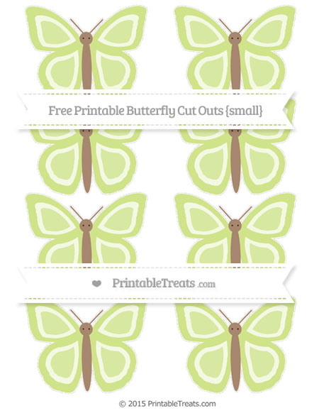 Free Pastel Lime Green Small Butterfly Cut Outs