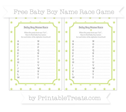Free Pastel Lime Green Star Pattern Baby Boy Name Race Game