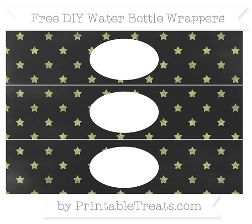Free Pastel Lime Green Star Pattern Chalk Style DIY Water Bottle Wrappers