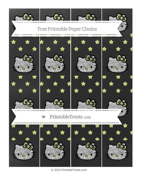 Free Pastel Lime Green Star Pattern Chalk Style Hello Kitty Paper Chains